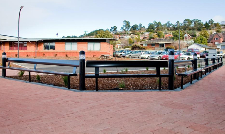 In Ground Aluminium Bench With Rests